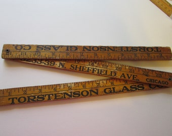 vintage folding yard stick - advertising - Tortenson Glass Co CHICAGO