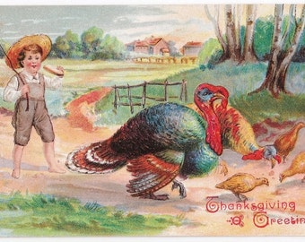 Thanksgiving Greetings - Antique Postcard - Thanksgiving, Thanksgiving Postcards, Children, Turkeys, Baby Turkeys, Paper, Ephemera