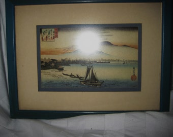 Small vintage Japanese wood Block print-framed-sale