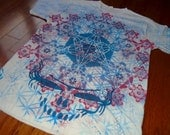M Sacred Geometry Steal Your Face Metatron's Cube Hand Painted Chakra Tee shirt