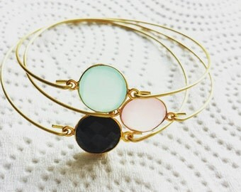 Personalized gemstone bangle, modern pretty jewelry
