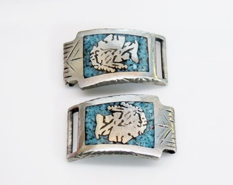 Sterling Silver Turquoise Inlay Indian Head Watch Band Tips Signed Navajo M.C.