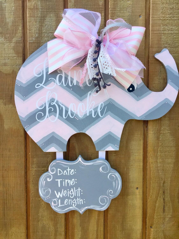 Baby Elephant Nursery Hospital Door Hanger