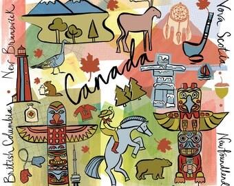 Canada, Wall art, Print, icons, modern, illustration, Golbal City,Home decor