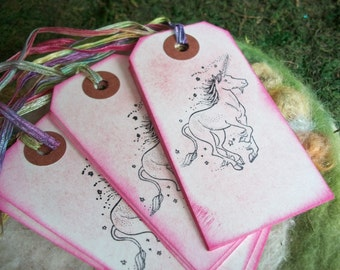 Unicorn Gift Tags, Set of 10 Pink Unicorn Flower Fairy Princess Party Favor Gift Tags Bookmark Thank You Favor Bag