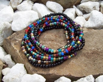 Stretch Stack Beaded Festival Bracelets, Black and Colorful beaded bracelets, Boho, Hippie, 9 Stack bracelet set