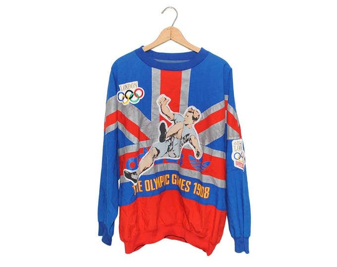 Vintage Adidas The Olympic Games London 1908 Union Jack All Over Print Pullover Oversize Jacket (OS-SS-6)