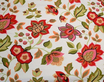 Richloom Fabric Consuela Persimmon Red Green Orange Floral