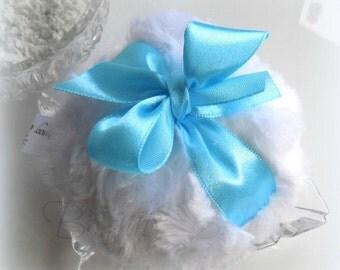 Light Blue Powder Puff - blue and white bath pouf -  bleu powderpuff gift box option - made by Bonny Bubbles