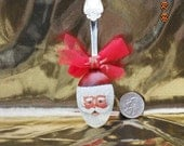 Santa Face on Spoon Hand-Painted Christmas Ornament
