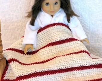 Crocheted Doll Blanket American Girl Lap Blanket Gotz 18 inch dolls Doll Sasha Doll Security Blanket, Madame Alexander Doll Kidz n Cats Doll