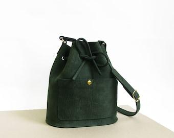 Leather bucket bag La Lisette leather bag Forest green shoulder bag womens bag green leather bag