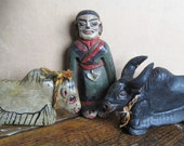 Three Old Tibet Nepal Primitive Folk Art Handmade Clay Figures Woman & Yaks