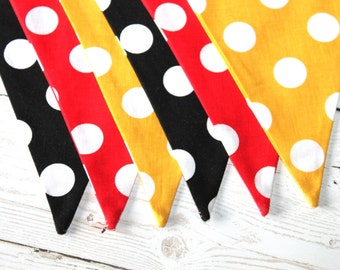Polka Dot - Fabric Bunting - Red - Yellow - Black