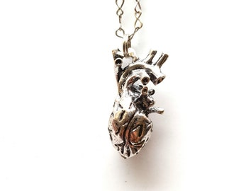 Silver Anatomical Heart Pendant, 3D - silver metal figure 8 chain - 18-20in w extender