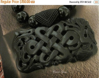 20% OFF ON SALE New ---- Hand Knotted Onyx with Black Jade Ruyi Necklace