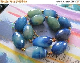 "20% OFF ON SALE 16"" long (12 pcs) Blue Agate Egg Shape Beads"
