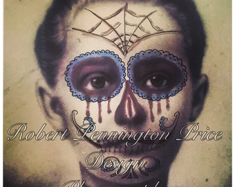 Day of the Dead / Altered Art Photography/ Mixed Media Painting / Victorian Death Mask  / Robert Price