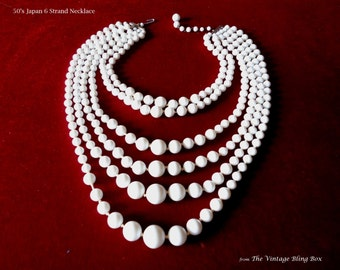50's Japan 6 Strand White Bead Bib Necklace in Hand-knotted Multi-strand Design & J-Hook Clasp Closure - Vintage 50s Marked Costume Jewelry