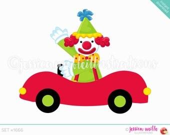 Clown Car Cute Digital Clipart, Cute Clown Clip art, Circus Graphics, Funny Clown in Car Illustration, #1666