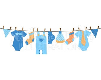 Baby Boy Clothesline Cute Digital Clipart, Boy Clothesline Clip art, Boy Clothes Graphics, Clothesline Illustration, #084