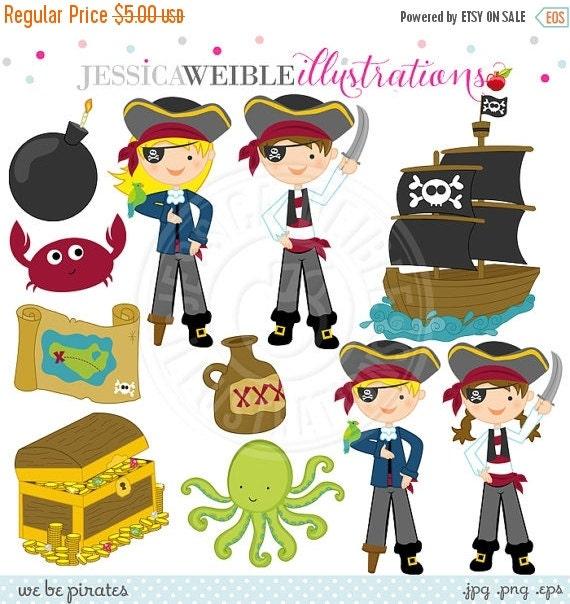 SALE We Be Pirates Cute Digital Clipart - Commercial Use Ok - Pirate Clipart, Pirate Graphics, Pirate Kids, Pirate Ship, Treasure