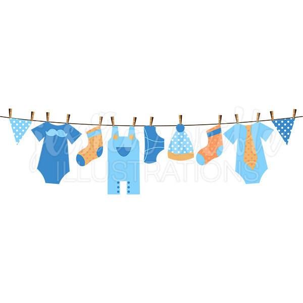 Baby Boy Clothesline Cute Digital Clipart Boy Clothesline