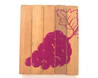 Wooden Block Puzzle, Vintage Puzzle with 4 Faces and Fruit Illustrations (L2)