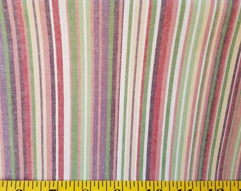 Striped fabric with cream , green, deep red and brown