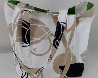White, Black Tan, IKEA,  Medium Tote, Shoulder Purse,  Work BAG, Knitting BAG