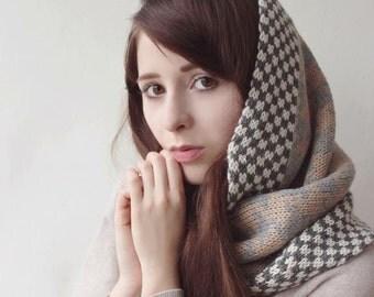 Snood, capot, capot, grosse écharpe, foulard infini tsarine - Anna à la main de 100 % bébé alpaga.