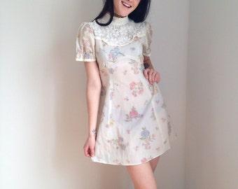 vintage 1970s dress mini dress MORI GIRL boho dress baby doll spring dress cream floral