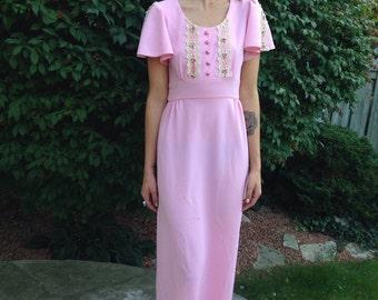 70s pink maxi dress / boho romantic party fairy tale sleeping beauty size small
