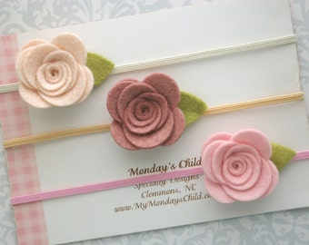 Felt Flower Headband Set, Felt Baby Headband, Baby Flower Headband, Baby Headband Set, Newborn Headband, Baby Headband, Toddler Headband