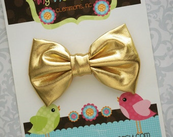 Gold Bow, Gold Hair Bow, Toddler Bow, Toddler Hair Bow, Girls Bow, Girls Hair Bow, Toddler Bows