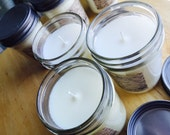 Soy Wax Candle Hand Poured with Cotton Wick Eco Friendly Natural 8 oz pick your scent handmade handcrafted rustic