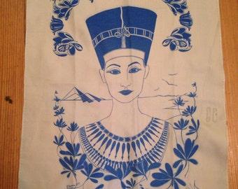 Vintage Scarf Egypt Egyptian Cleopatra Pyramids