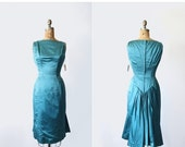 75% OFF vintage 1950s 1960s dress - Suzy Perette Original Tags - bombshell satin cocktail party dress - teal blue - Small