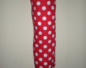 Plastic bag/Storage bag holder red with white polka dots print eco friendly 100% cotton Great for the pantry