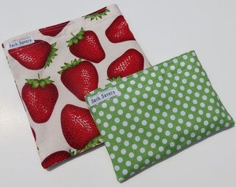Reusable Sandwich and Snack Bag Set Eco Friendly Strawberry Polka Dots