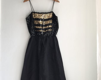 70s Black and Gold Disco Dancing Dress with Spaghetti Straps