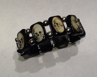 Halloween Vintage Skulls Black Wooden Tile Stretchy Bracelet