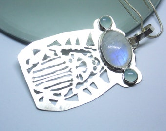 Scarab beetle pendant moonstone chalcedony sterling silver