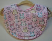 Baby Girl Light Pink Bunny Rabbits with Hot Pink Terry Cloth Snap Bib
