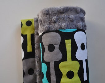 XLARGE, Snuggle Size Minky Blanket,Turquoise, Grey, Lime Green & White  Guitars and Grey Minky