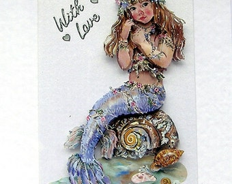 Mermaid Hand Crafted 3D Decoupage Card, With Love (2015) Birthday Card, Layered Card, Summer Vacation, Seashore, Daughter Card