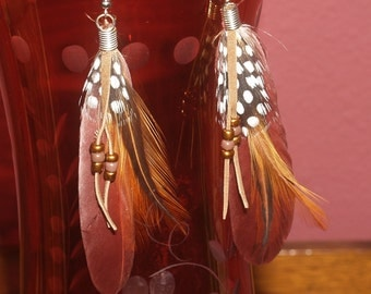 Spotted guinea, pheasant and brown feather earrings, w/ glass beads.