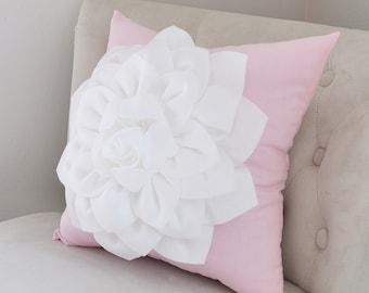 Girls Nursery Pillow - White Dahlia Flower on Light Pink Pillow - Rocker Pillow - Custom Pillow - Baby Shower Pillow - Pink Baby Nursery