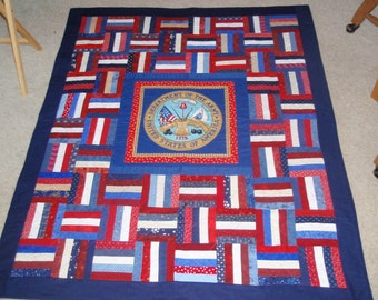 U S Army Quilt 44 x 55 inches red white blue Patriotic Veteran Soldier Nice gift