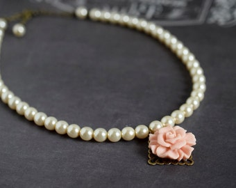 Pink Rose Flower & Cream Pearl Necklace Flower Necklace Ivory Czech Pearl Bridal Necklace Neutral Pastel Wedding Jewelry Bridesmaid Gift